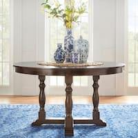 Flatiron Burnished Dark Oak Finish Round Dining Table by iNSPIRE Q Classic