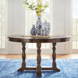 Flatiron Burnished Dark Oak Finish Round Dining Table by iNSPIRE Q Classic
