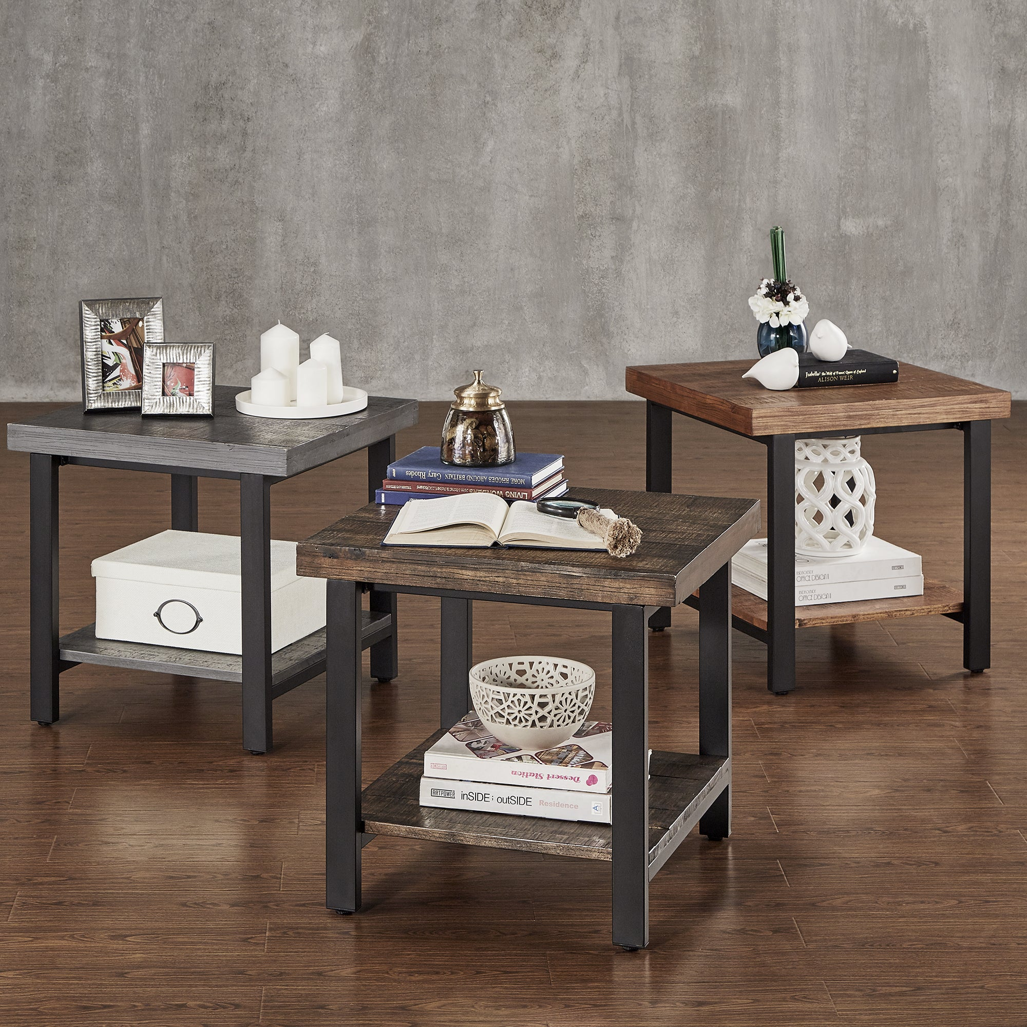 Ordinaire Cyra Industrial Reclaimed Accent End Table By INSPIRE Q Classic