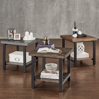 TRIBECCA HOME Cyra Industrial Reclaimed Accent End Table