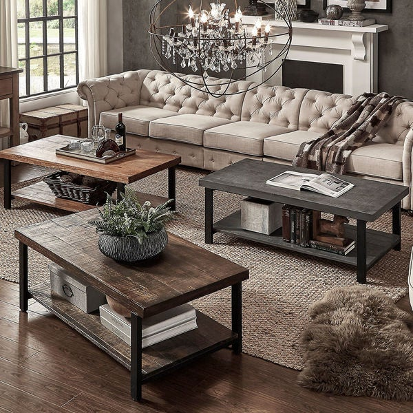 Cyra industrial reclaimed rectangular coffee table by for Living room no coffee table