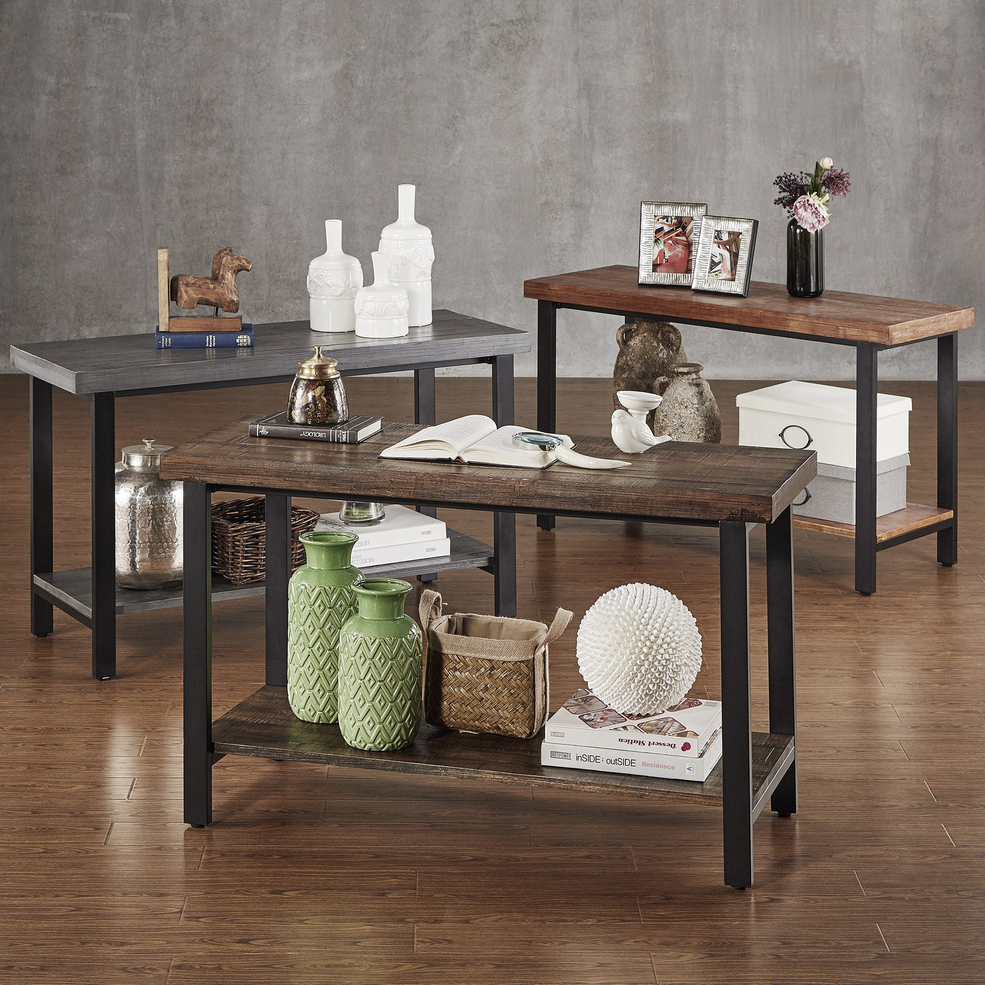 shop cyra industrial reclaimed sofa table tv stand by inspire q rh overstock com Overstock Contemporary Coffee Tables Overstock Contemporary Coffee Tables