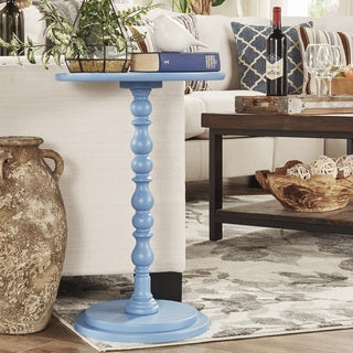 Acapella Sky Blue Round Accent End Table