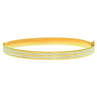 14 Karat Yellow Gold Polish Finished 5.94mm Dust Bangle Bracelet with Box Tongue and Safety Closure,