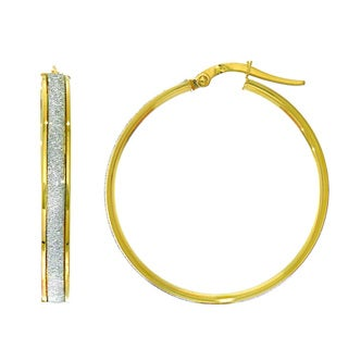 14 Karat Yellow Gold Polish Finished 28mm Dust Hoop Earrings with Hinge with Notched Closure