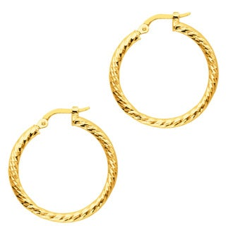 14k Yellow Gold Polish Finished 22mm Etched Hoop Earrings with Hinge with Notched Closure