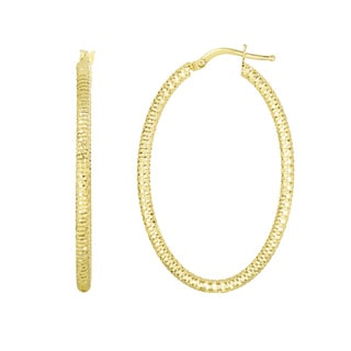 14k Yellow Gold Polish Finished 36mm Textured Hoop Earrings with Hinge with Notched Closure