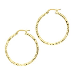 14k Yellow Gold Polish Finished 25mm Etched Hoop Earrings with Hinge with Notched Closure