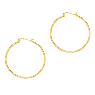 14k Yellow Gold Polish Finished 45mm Hoop Earrings with Hinge with Notched Closure
