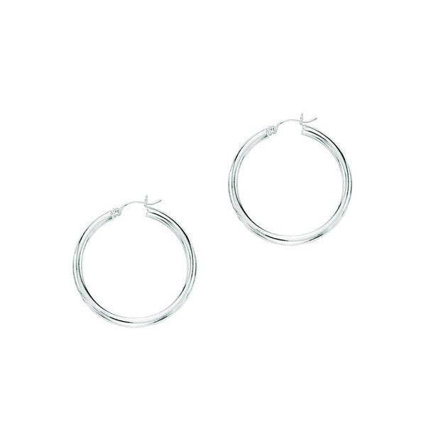 14k White Gold Polish Finished 40mm Hoop Earrings With Hinge Notched Closure