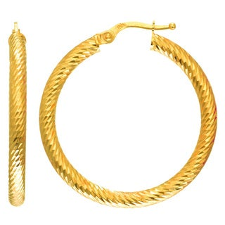 14k Yellow Gold Polish Finished 24mm Etched Hoop Earrings with Hinge with Notched Closure