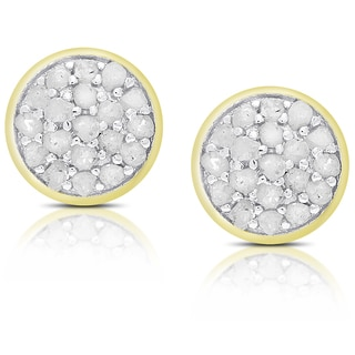 Finesque Sterling Silver 1/4 Ct TDW Diamond Circle Stud Earrings