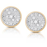 Finesque Sterling Silver or Gold Over Silver Diamond Accent Circle Stud Earrings