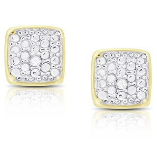 Finesque Sterling Silver or Gold Over Silver Diamond Accent Square Stud Earrings