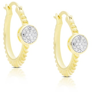 Finesque Gold Over Silver Diamond Accent 1/4 Ct TDW Diamond Circle Design Saddleback Earrings