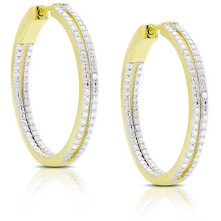 Finesque Gold Over Sterling Silver Diamond Accent Two Row Hoop Earrings