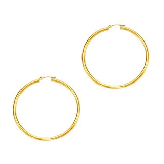 14k Yellow Gold Polish Finished 50mm Hoop Earrings with Hinge with Notched Closure
