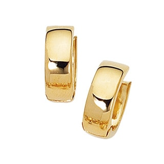 14k Yellow Gold Polish Finished 15mm Snuggie Hoop Earrings with Hidden Snap Backs