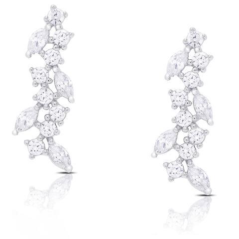 Samantha Stone Sterling Silver Cubic Zirconia Drop Cluster Earrings