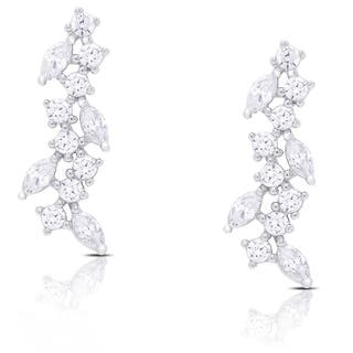 Samantha Stone Sterling Silver Cubic Zirconia Drop Cluster Earrings|https://ak1.ostkcdn.com/images/products/11177779/P18170945.jpg?impolicy=medium