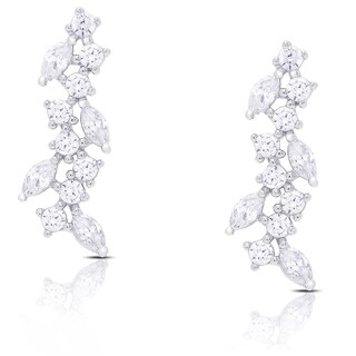 Samantha Stone Sterling Silver Cubic Zirconia Drop Cluster Earrings