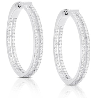 Dolce Giavonna Sterling Silver Cubic Zirconia Two Row Hoop Earrings
