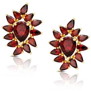 Dolce Giavonna Gold Over Silver Simulated Garnet Flower Design Stud Earrings