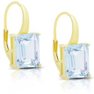 Dolce Giavonna Gold Over Sterling Silver Blue Topaz Square Leverback Earrings