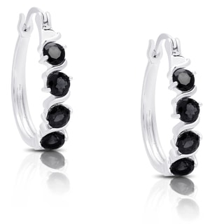 Dolce Giavonna Sterling Silver Sapphire Leverback Hoop Earrings