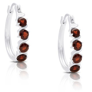 Dolce Giavonna Sterling Silver Garnet Leverback Hoop Earrings