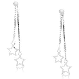 Dolce Giavonna Sterling Silver Dangling Star Earrings