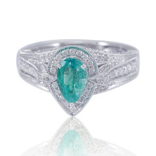 Suzy Levian 14K White Gold Pear-Cut Colombian Emerald (1.65TCW) Diamond Ring