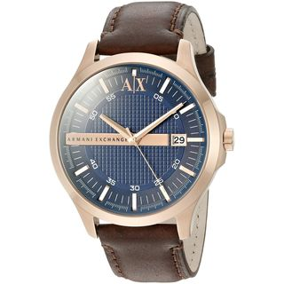 Armani Exchange Men's AX2172 'Hampton' Brown Leather Watch