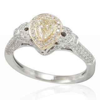 Suzy Levian 14K White Gold Yellow Diamond Pear-Cut Engagment Ring