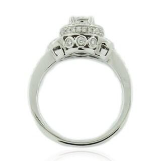 Suzy Levian 14K White Gold and Round White Diamond Bridal Ring