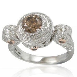 Suzy Levian 14K White Rose Diamond Ring