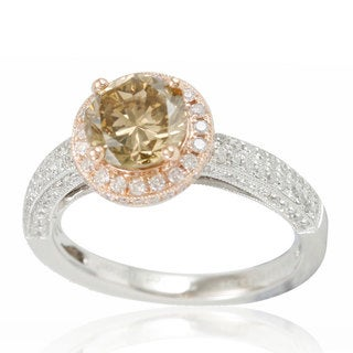 Suzy Levian Limited Edition 14K Two-Tone White Rose Gold and Brown Diamond Engagament Ring