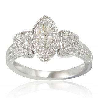 Suzy Levian Limited Edition 14K White Gold and Marquise Diamond Ring