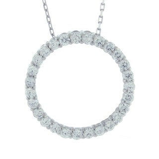 Suzy Levian 4/5 ct TDW 14k White Gold Diamond Circle Pendant (G-H, SI1-SI2)