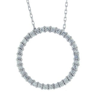 Suzy Levian 1/2 ct TDW 14k White Gold Diamond Circle Pendant (G-H, SI1-SI2)