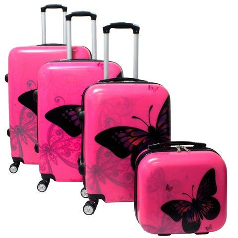 World Traveler Pink Butterfly 4-piece Hardside Spinner Luggage Set with TSA Lock