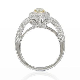 Suzy Levian Limited Edition Two-Tone 14K White Yellow Gold and Yellow Pear Diamond Ring