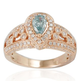 Suzy Levian Limited Edition 14k Rose Gold Light Blue Pear-Cut Diamond Ring