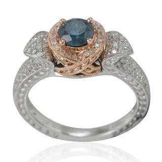 Suzy Levian Two Tone Gold and Blue Diamond Designer Ring