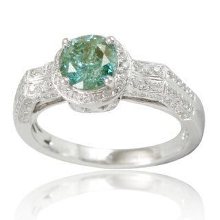 Suzy Levian 14k White Gold Green Diamond Royal Engagement Ring