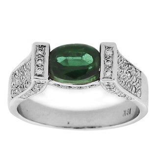 Suzy Levian White Gold Tourmaline and Diamond Ring