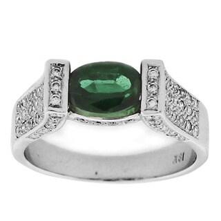 Suzy Levian White Gold Tourmaline and Diamond Ring