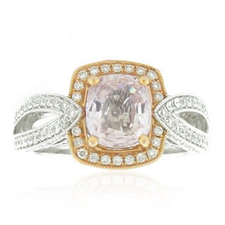 Suzy Levian 14k Two-Tone Gold, Diamond and Morganite Asscher-Cut Ring