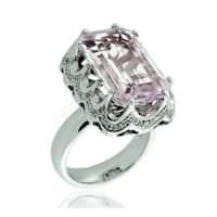 Suzy Levian 18k White Gold, Diamond Accent and Asscher-Cut Kunzite Ring