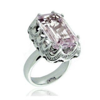 Suzy Levian 18k White Gold, Diamond Accent and Asscher-Cut Kunzite Ring (5 options available)